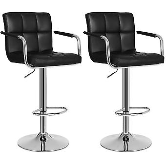 Set of 2 luxury leatherette bar chairs - 5 color options