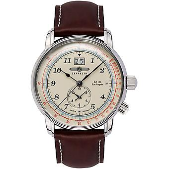 Zeppelin Los Angeles Dual Time Watch for Swiss Quartz Analog Man with Cowhide Bracelet 8644-5