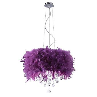 Diyas Ibis Pendant With Purple Feather Shade 3 Light Polished Chrome / Crystal