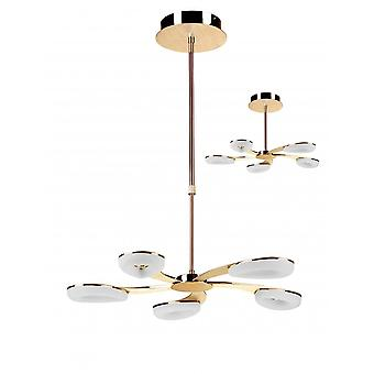Mantra Juno Telescopic 5 Light 30W LED 3000K, 2700lm, Satin Gold/Frosted Acrylic/Gold, 3yrs Warranty