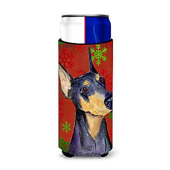 Doberman Red and Green Snowflakes Holiday Christmas Ultra Beverage Insulators fo