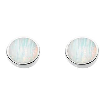 Dew - Sterling Silver Oval Earrings - Silver - Color: Milky Synthetic Opal - cod. 3060MSO