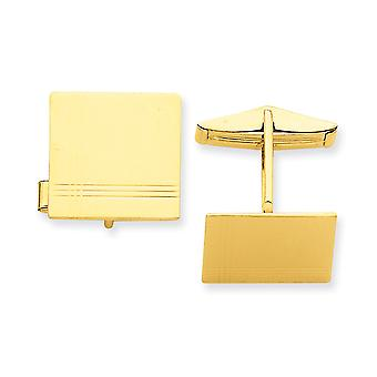 14k Yellow Gold Polished Engravable Cuff Links Jewelry Gifts for Men - 7.5 Grams