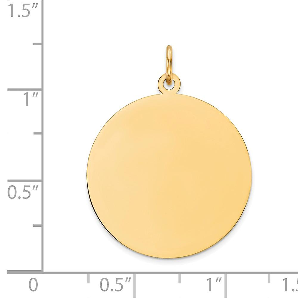 14k Yellow Gold Solid Polished Engravable Plain .011 Gauge Circular Engraveable Disc Charm Pendant Necklace Jewelry Gift