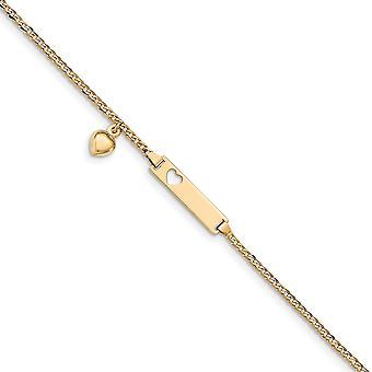 14 k Gelb Gold Baby ID Bordstein mit Herz baumeln Armband - 6 Zoll