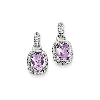 925 Sterling Argento Dangle lucidato Post Orecchini Rhodium placcato Orecchini di Quarzo Rosa - 2.90 cwt