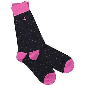 Swole Panda Spotted Bamboo Socks - Navy/Pink