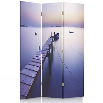 Room Divider, 3 Panels, Double-Sided, 360 ° Rotatable, Canvas, Sunrise Along The Coast
