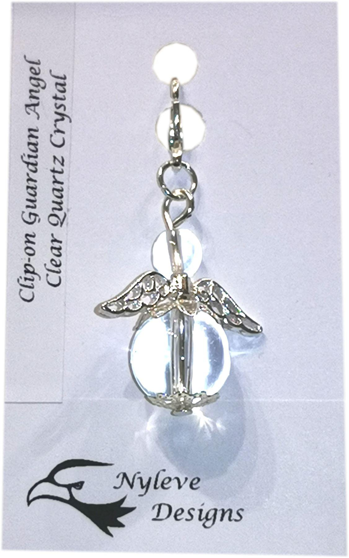 Nyleve Designs handmade Clip-on Semi-precious Clear Quartz Gemstone Guardian Angel in Silver Plated