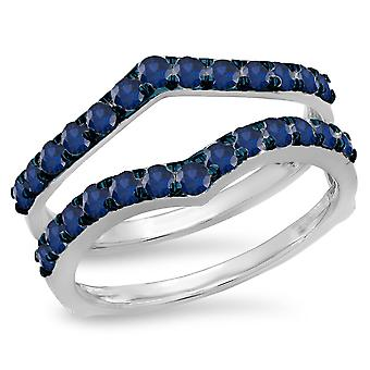 Dazzlingrock Collection 0.95 Carat (ctw) 14K Round Blue Sapphire Wedding Enhancer Guard Double Band 1 CT, White Gold