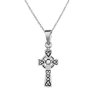 "Celtic Eternity Knotwork Stone Carved Cross Necklace Pendant - Includes A 22"" Silver Chain"
