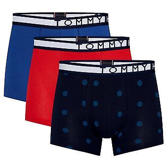Tommy Hilfiger Logo Cotton Trunk Print 3 Pack - Tango Red/True Blue/Navy Blazer