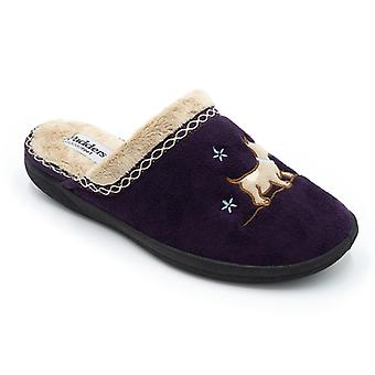 Padders Scotty naisten microsuede Extra leveä (2E) mule Tossut violetti