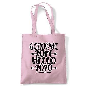 Goodbye Hello 2020 tote | Ball Drop Auld lang syne tid kvadrat midnatt | Gjenbrukbare shopping Cotton Canvas Long håndtert Natural shopper miljøvennlig mote