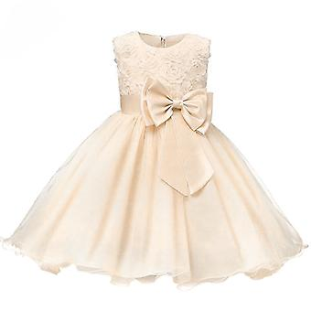 Festive dress with rosette and flowers-Beige