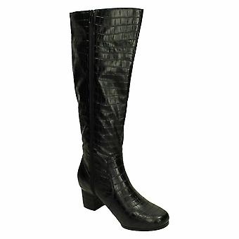 Spot On Womens/Ladies Extra Wide Knee High Crocodile Boots