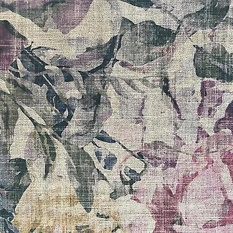 Bloom purple floral linen fabric