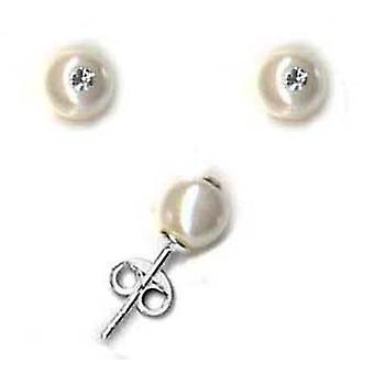 Toc Sterling Silver Swarovski Crystal Synthetic Pearl Stud Earrings