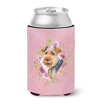 Carolines Treasures  CK4192CC Welsh Terrier Pink Flowers Can or Bottle Hugger