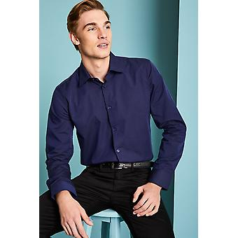 SIMON JERSEY Men's Chambray Long Sleeve Modern Fit Shirt, Navy
