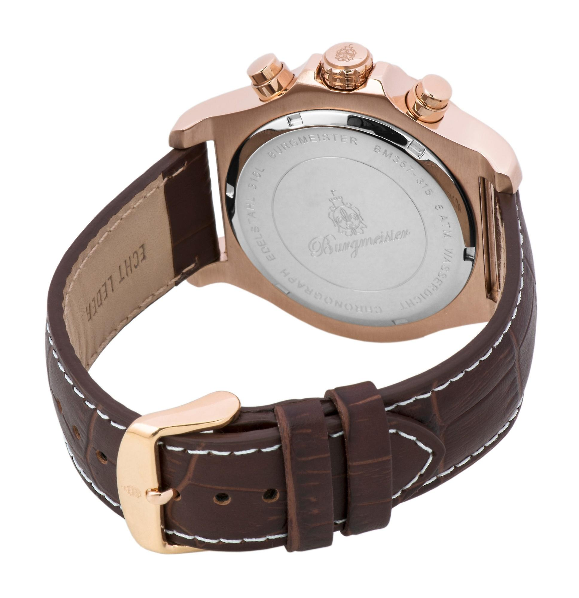 Burgmeister BM357-315 Meyrin, Gents watch, Analogue display, Chronograph with Citizen Movement - Water resistant, Stylish leather strap, Classic men's watch