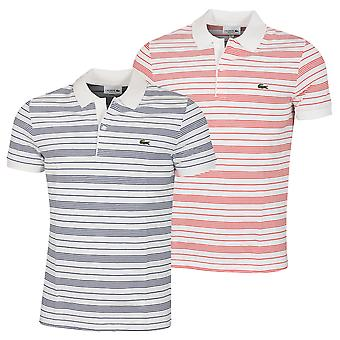 Lacoste Mens PH6785 Ribbed 2 button Embroidered Crocodile Polo Shirt