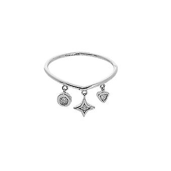 14k White Gold 0.039 dwt Diamond Mix Dangle Element Ring Jewelry Gifts for Women - Ring Size: 6 to 8