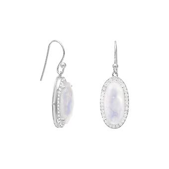 Gorgeous 925 Sterling Silver French Wire Earrings 8mm X 17mm Faceted Rainbow Celestial Moonstone Drops CZ Edges Jewelry