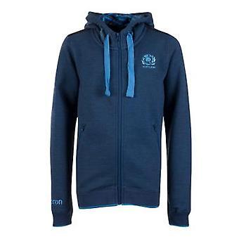 2018-2019 Scotland Macron Rugby Heavy Cotton Full Zip Hoody (Blue) - Kids