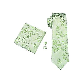 JSS Green Floral Paisley Silk Neck Tie, Pocket Square & Cufflink Set