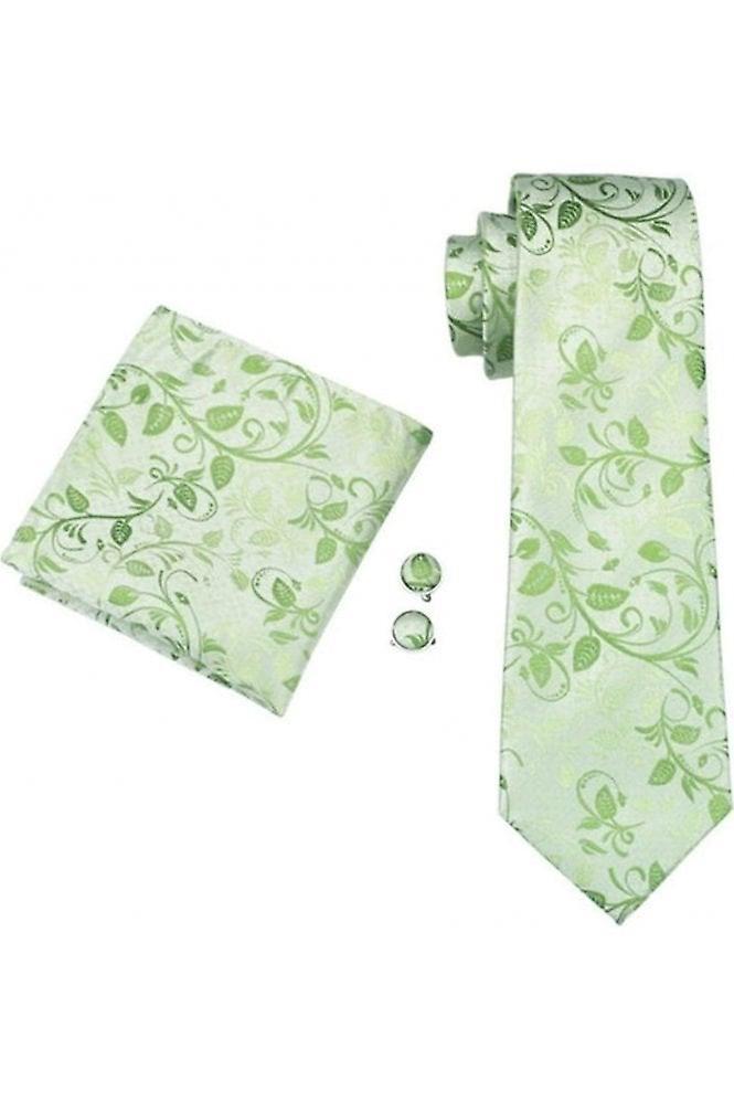 JSS Green Floral Paisley Silk Neck Tie, Pocket Square & Cufflink Set