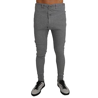 Dolce & Gabbana Light Gray Cotton Stretch Thermal Bottoms