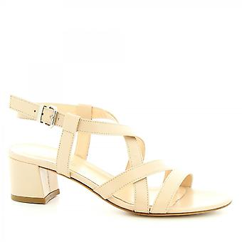 Leonardo Shoes Women's handmade heels sandals beige napa leather with buckle