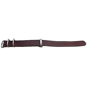 N.a.t.o zulu g10 style watch strap brown leather heavy duty stainless steel buckle size 18mm,20mm and 22mm