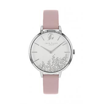 Sara Miller SA2027 Women's Silver Tone Leaf Design Pink Strap Wristwatch