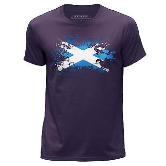 STUFF4 Miesten Pyöreä kaula T-paita/Skotlanti/Skotlannin lipun Splat/violetti