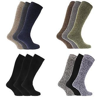 Térmica para hombre lana mezcla larga bota Wellington calcetines (paquete de 3)