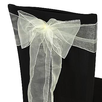17cm x 274cm Organza Table Runners Wider et Fuller Sashes Ivoire