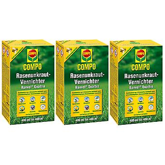 Sparset: 3 x COMPO Lawn Weed Killer Banvel® Quattro, 400 ml