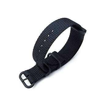 Strapcode n.a.t.o watch strap miltat 20mm or 22mm thick 3 rings honeycomb zulu bullet tail black nylon watch band, pvd black