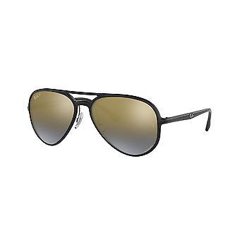 راي بان Chromance RB4320CH 601/J0 الأسود / الأزرق مرآة الذهب النظارات الشمسية