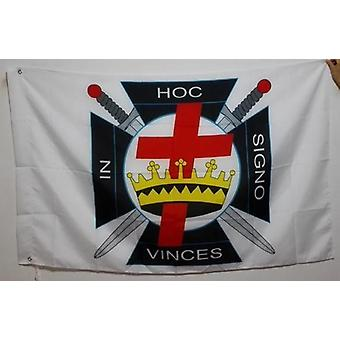 In hoc signo vinces knights templar masonic flag