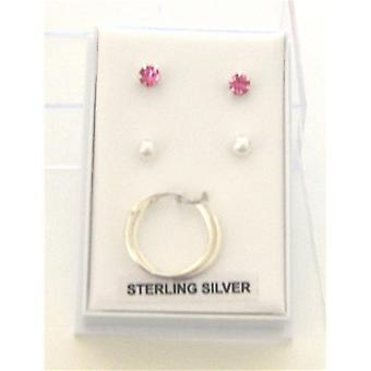 TOC Sterling Silver Pink Rhinestone, Simulated Pearl & Hoop Earrings Set of 3
