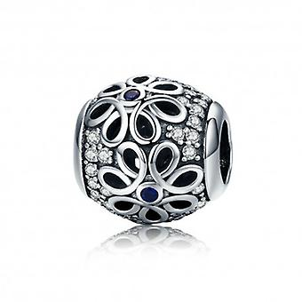 Sterling Silver Charm Daisy With Blue Shiny Dot - 5543