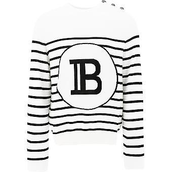 Balmain Th13217k177gab Men's White Cotton Sweater