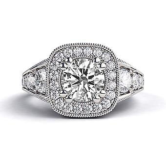 2.30ct White Sapphire and Diamonds Ring White Gold 14K Art Deco Round