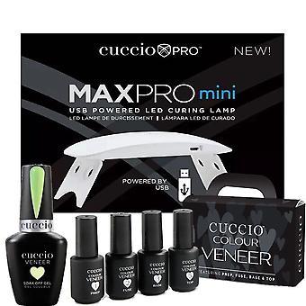 Cuccio Colour Veneer Professional - Kit di CuraTura Polacca Rainbow Sorbet Gel - Pistacchio Sorbetto 13ml, Lampada di cura USB e Kit di Trattamento Mini - Set 5