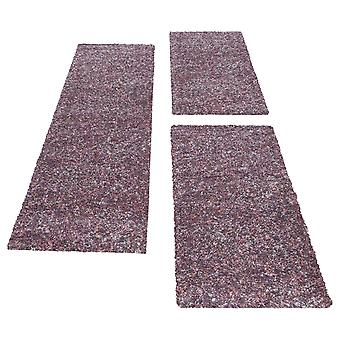 Shaggy Runner Bed Border Rug Set Multicolored Purple Taupe Melted 3-Piece