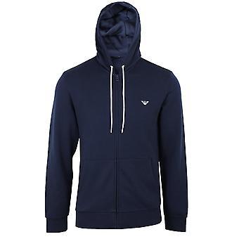 Emporio armani men's navy zipped hooded sweatshirt