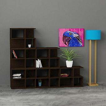 Aaron Color Wenge Bibliotek i Melaminic Chip 65x30x53.5 cm, 108x30x195 cm